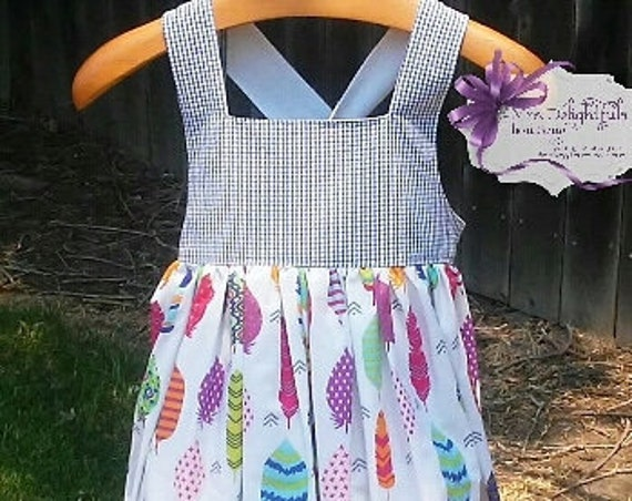 dress, handmade dress , summer dress, feather dress, boutique kids clothes, boutique bows