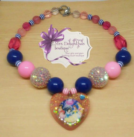 Princess chunky necklace chunky necklace birthday necklace baby necklace kids Jewellery Disney necklace