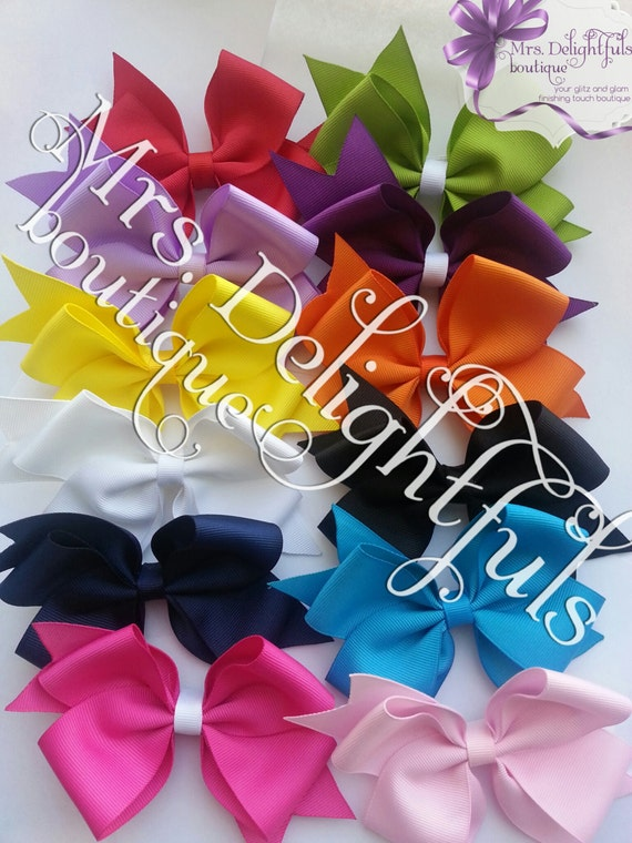 12 classic bow set, hair bows, hair bow, bow set, handmade