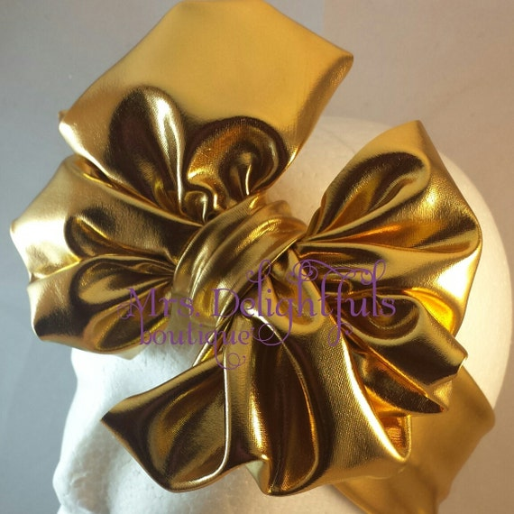 Gold messybow headbands, headwrap, turban, babyturban, africanheadwrap,natural hair headwrap