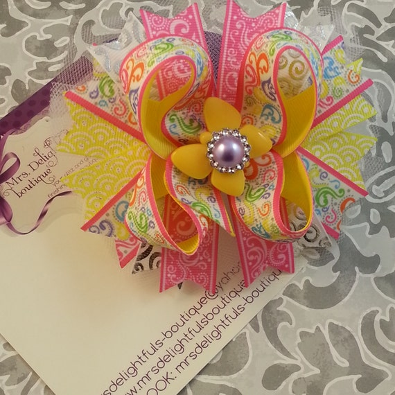 boutique stacked bow, butterfly bow, pink bow,multi color bow,yellow bow, spring bow,hairbows,hairbow,