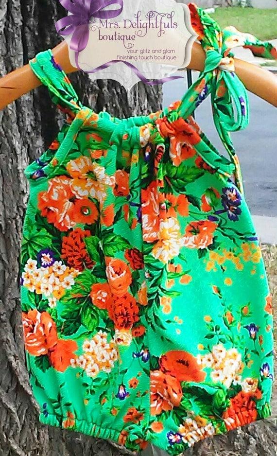 Green floral  romper,baby romper,toddler romper,knit romper,bow romper,modern romper,classic romper,1st birthday,sleeveless romper
