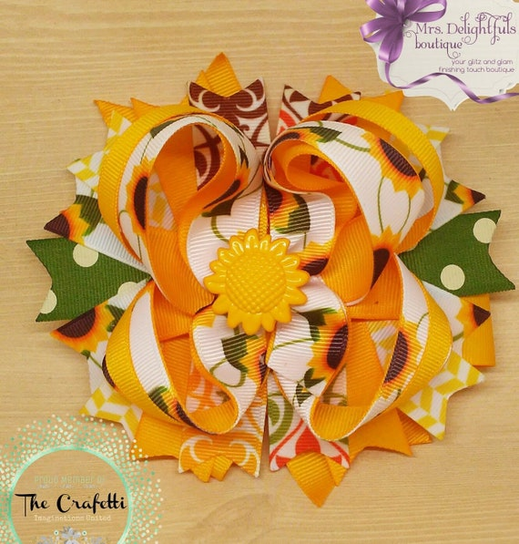 yellow boutique bow, fall bow,stacked bow, baby bow, hair bow, accessories, hair clip, heart bow , yellow bow, brown bow, layered bow