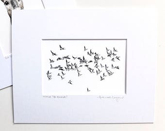 Print - Imagine the Honking - Flying Geese Pencil Drawing