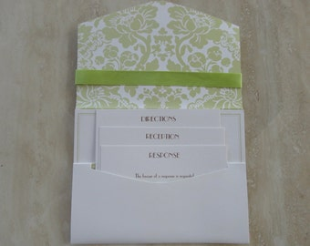 Pocket invites etsy diy pockets for wedding invitations bat mitzvah spring green and white shimmer do it yourself pocket invitations solutioingenieria Image collections