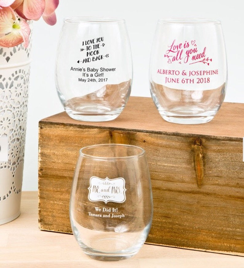 monogram wedding reception glassware Set of 24 personalized stemless 9 oz choose your color wine glasses 9 ounce screen printed