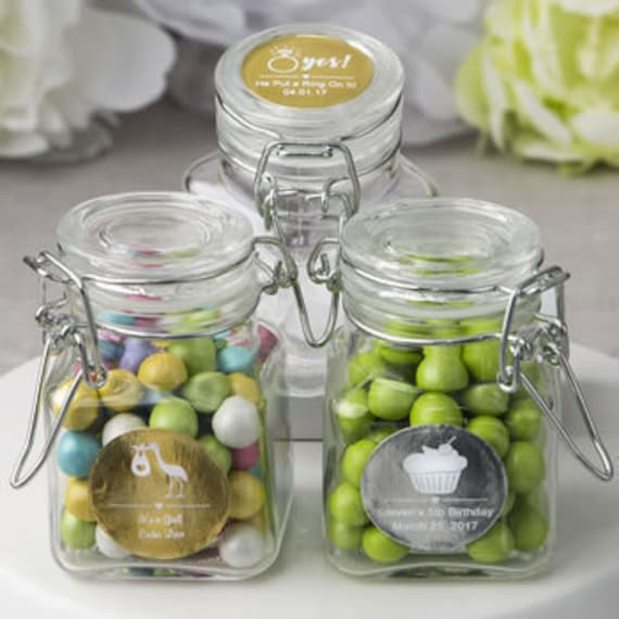 50 Personalized Glass Candy Jars Wedding Bridal Shower Party Favors