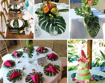 12 Palm Leaf Decorations Luau Tropical party Beach theme wedding runner & Tropical centerpiece   Etsy