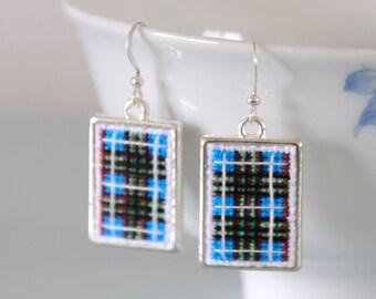 Edinburgh Tartan Earrings - Blue Cross Stitch Scottish Rectangle Frame Scotland Gift
