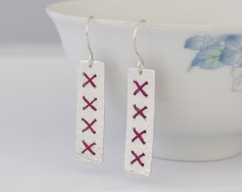 Long Purple Cross Stitch Earrings - Rectangle Metalwork Wire Hammered Sterling Silver Jewellery Gift for Her