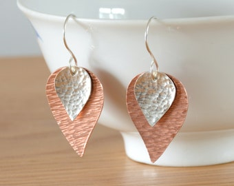 Silver & Copper Leaf Earrings - Sterling Silver Teardrop Metalwork Hammered Jewellery Gift