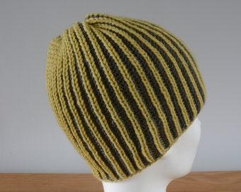 Mustard Yellow & Grey Brioche Beanie Hat - Knitted Reversible Ribbed Merino Wool Unisex Outdoors Gift