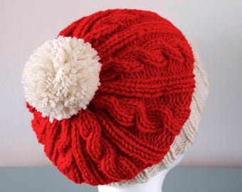 bac0e4377a415 Knitted Santa Hat - Red Cream Slouchy Merino Wool Christmas Pom Pom  Outdoors Unisex Gift