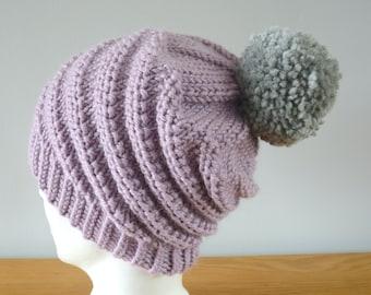 Lilac Spiral Beanie - Purple Alpaca Wool Swirl Hat Grey Pom Pom Knitted Unisex Winter Accessory Gift