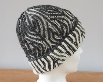 Grey & White Brioche Beanie Hat - Knitted Reversible Merino Wool Unisex Outdoors Gift