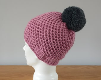 Pink Hat - Fisherman Honeycomb Beanie Grey Pom Pom Knitted Wool Unisex Winter Accessory Gift