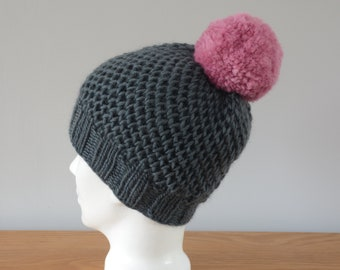 Grey Hat - Fisherman Honeycomb Beanie Pink Pom Pom Knitted Wool Unisex Winter Accessory Gift