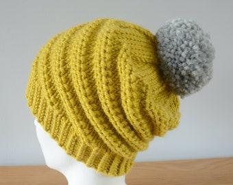 Mustard Yellow Spiral Beanie - Alpaca Wool Swirl Hat Grey Pom Pom Knitted Unisex Winter Accessory Gift