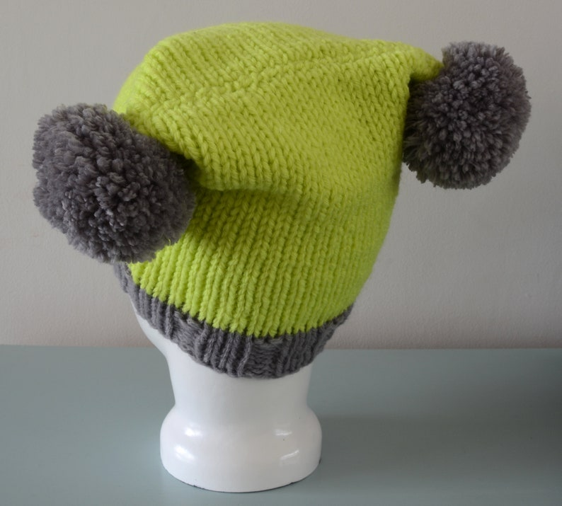 Lime Green Double Pom Pom Hat  Knitted Grey Beanie Merino image 0
