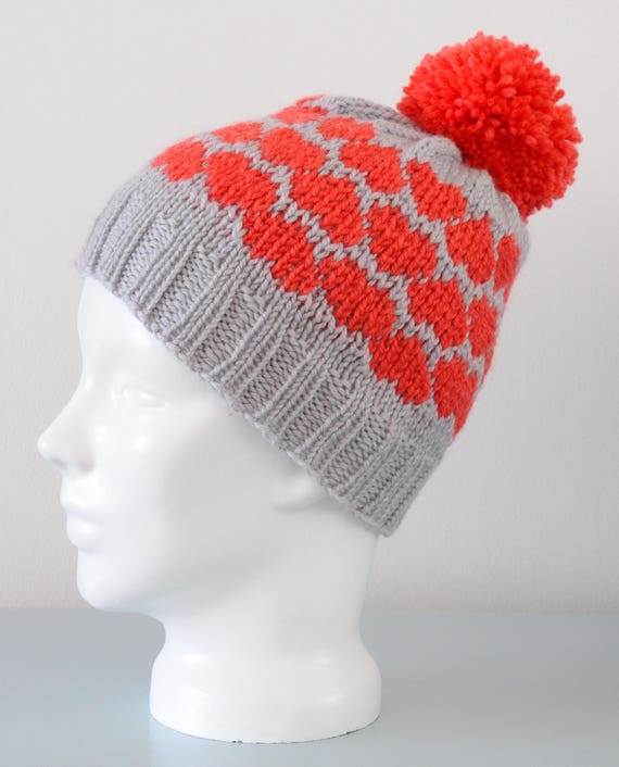 Red Heart Fair Isle Beanie Hat Small Grey Modern Knitted  c1fa163819b
