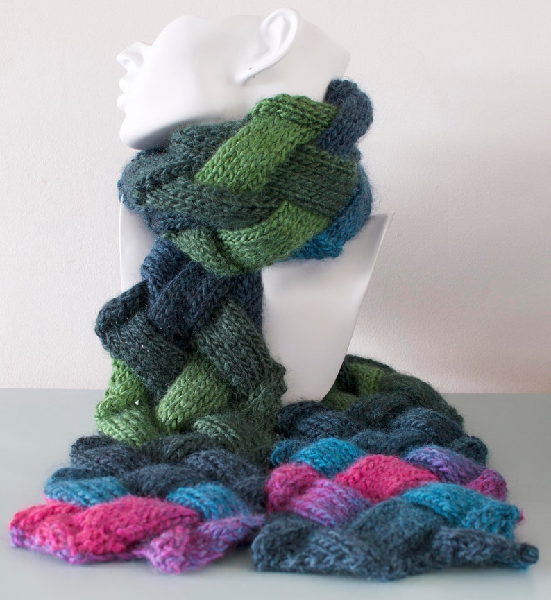 Multicoloured Entrelac Scarf  Green Knitted Diagonal image 0