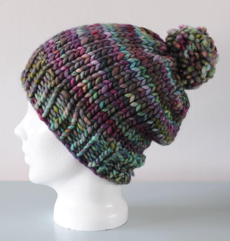 Green Chunky Beanie Hat  Purple Knitted Merino Wool Pom Pom image 0