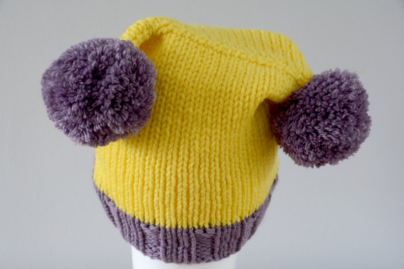 Yellow Purple Double Pom Pom Hat  Knitted Beanie Merino Wool image 0