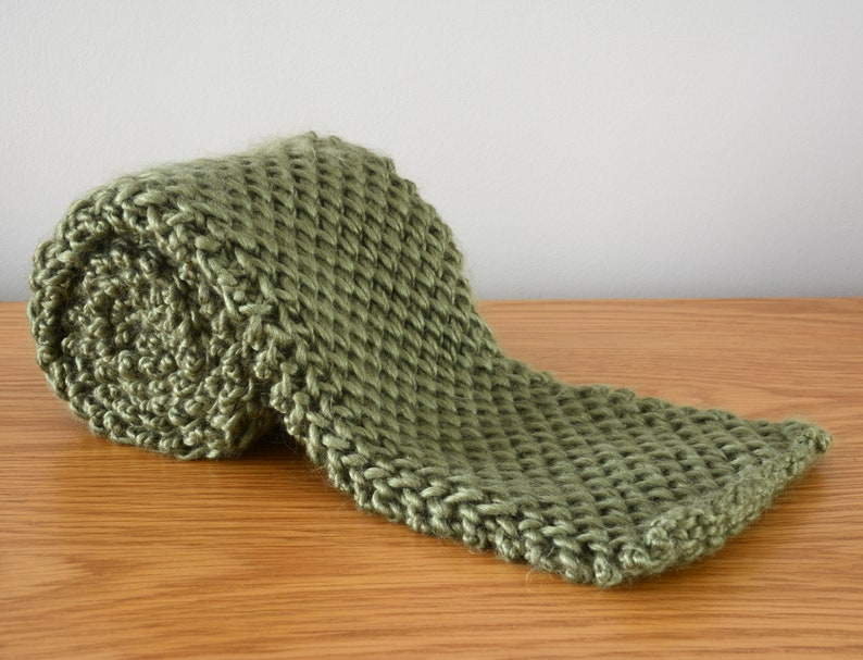 Olive Green Honeycomb Scarf  Short Knitted Chunky Fisherman image 0