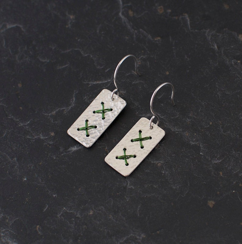 Green Cross Stitch Earrings  Medium Rectangle Sterling Silver image 0