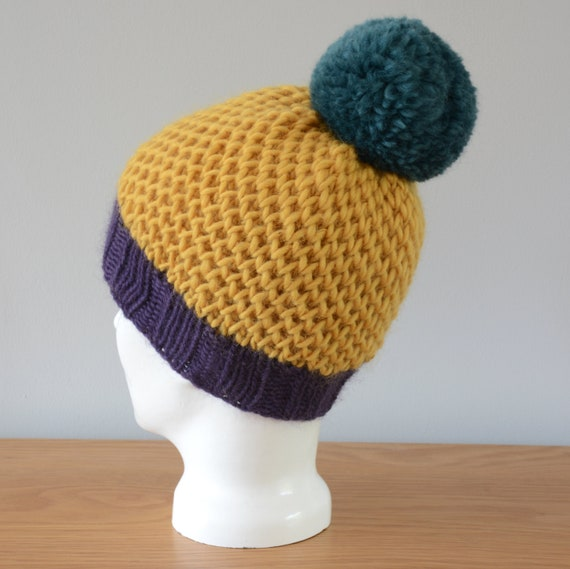 Beige Fair Isle Beanie Hat Maroon Green Yellow Modern Knitted Zig Zag Merino Wool Pom Pom Unisex Winter Gift