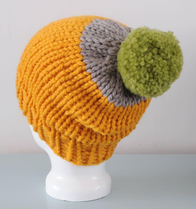 Yellow Super Chunky Beanie Hat  Grey Knitted Merino Wool image 0