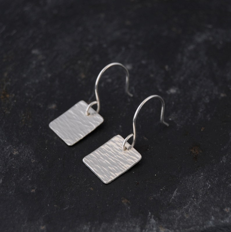 Small Silver Square Earrings  Horizontal Linear Textured image 0