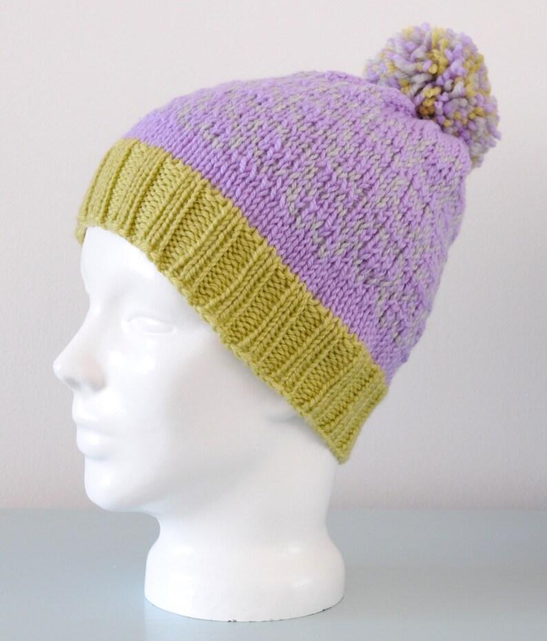 Lavender Heart Fair Isle Beanie Hat  Pistachio Grey Modern image 0