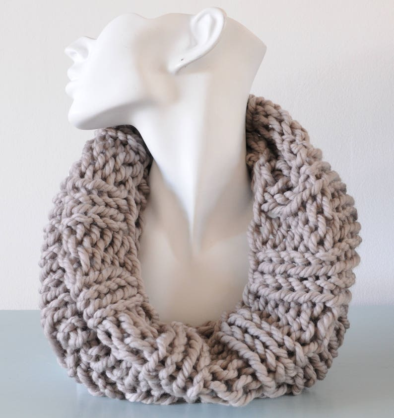 Light Grey Cowl  Reversible Infinity Scarf Chunky Knitted image 0