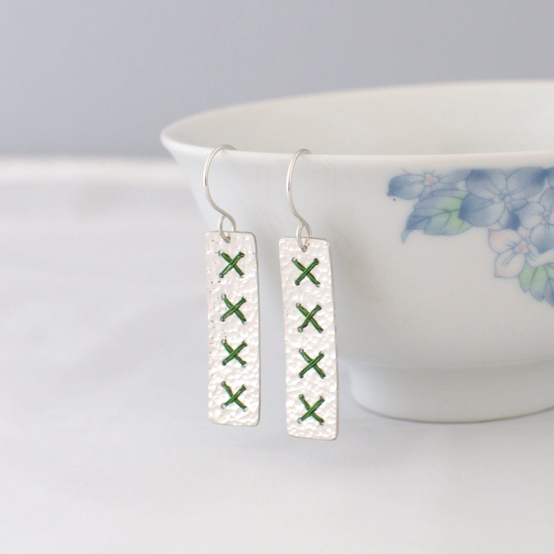 Long Green Cross Stitch Earrings  Rectangle Hammered Sterling image 0