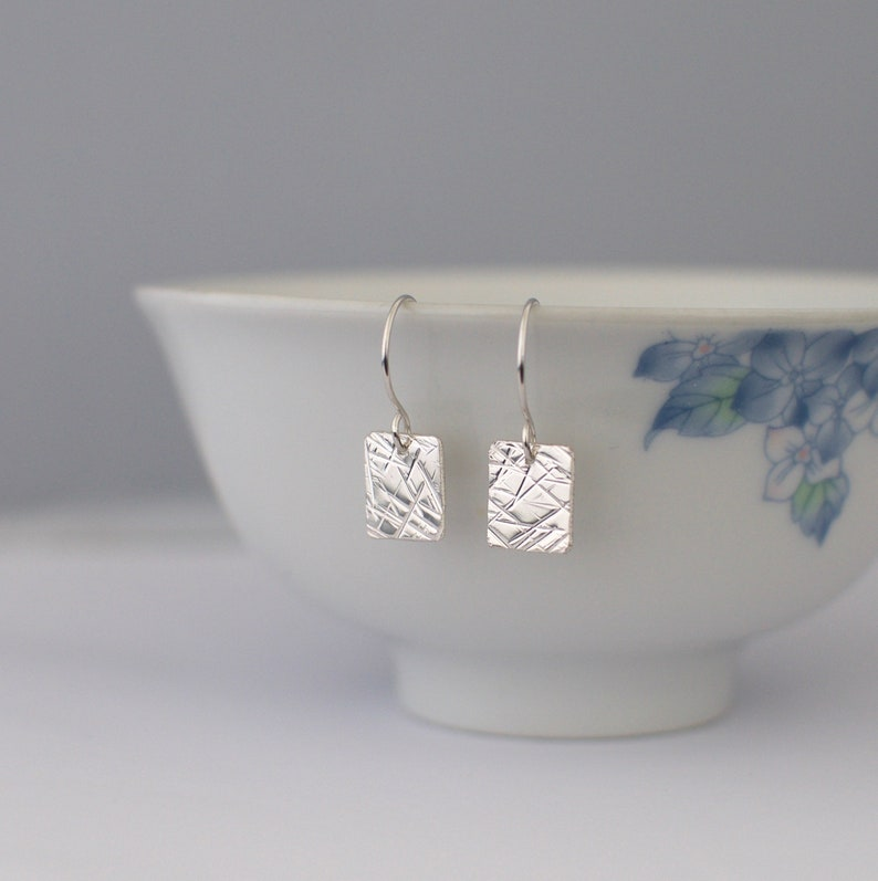 Silver Square Earrings  Small Hammered Textured Metalwork image 0