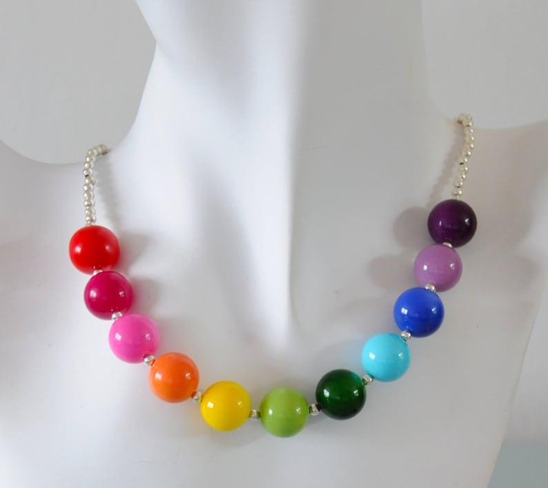 Rainbow Necklace  Chunky Czech Glass Beaded Multicoloured image 0