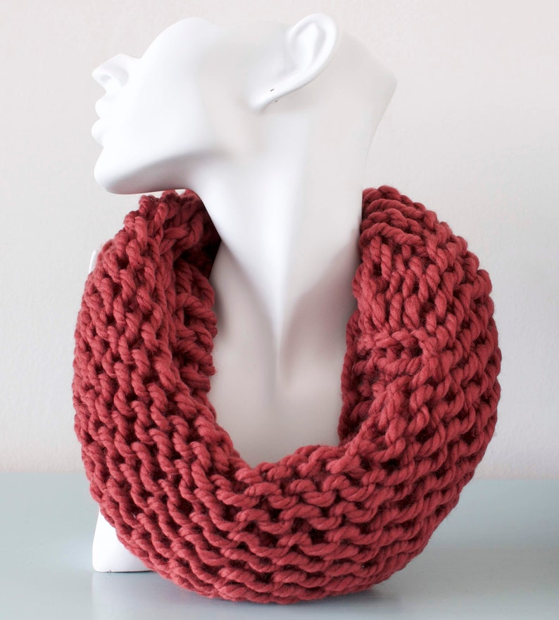 Terracotta Cowl  Brown Chunky Knitted Infinity Scarf image 0