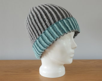 Grey & Blue Brioche Beanie Hat - Green Knitted Reversible Ribbed Merino Wool Unisex Outdoors Gift