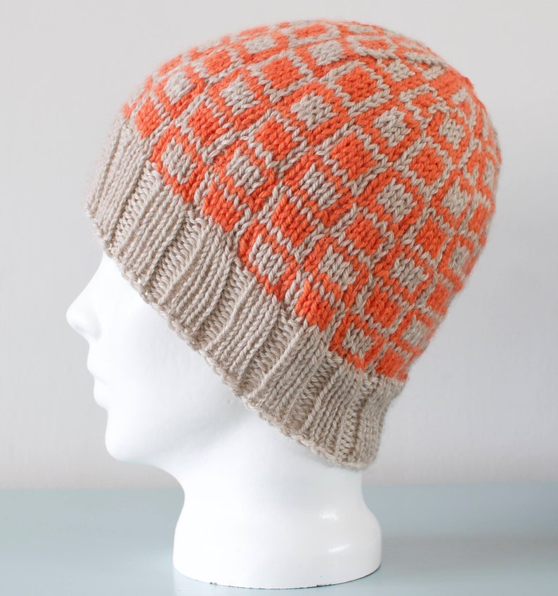 Orange Square Geometric Beanie Hat  Beige Knitted Merino Wool image 0