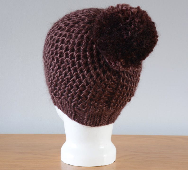 Chocolate Brown Hat  Fisherman Honeycomb Beanie Pom Pom image 0
