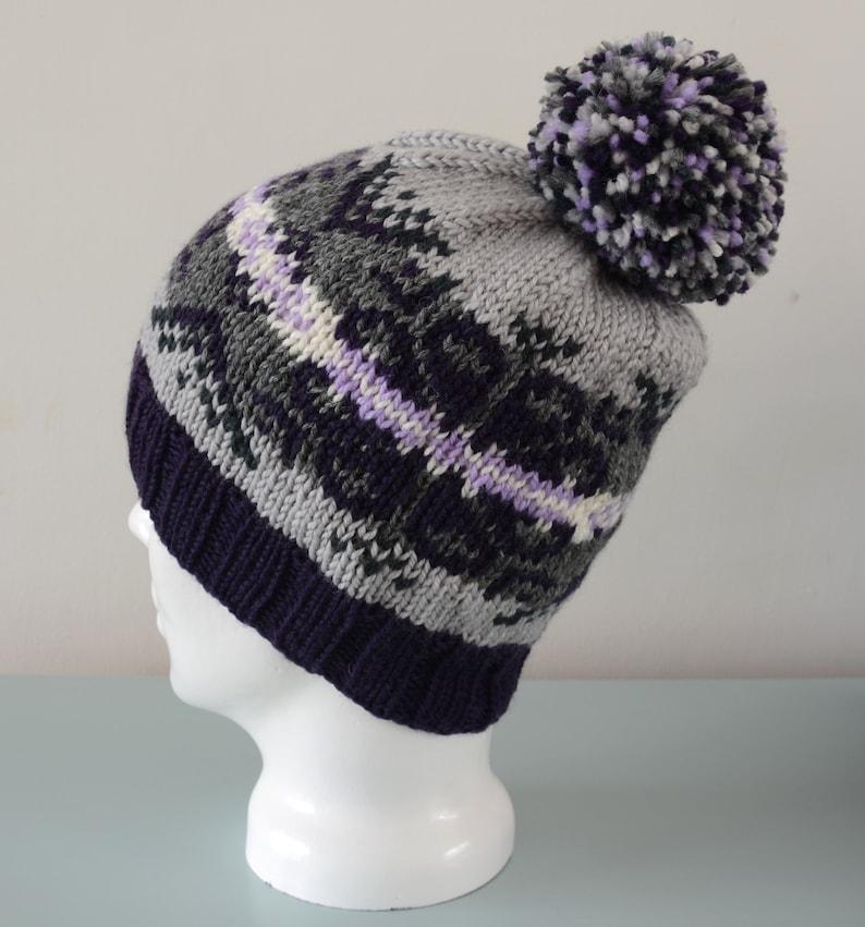 Grey Fair Isle Beanie Hat  Purple Lavender Cream Modern image 0