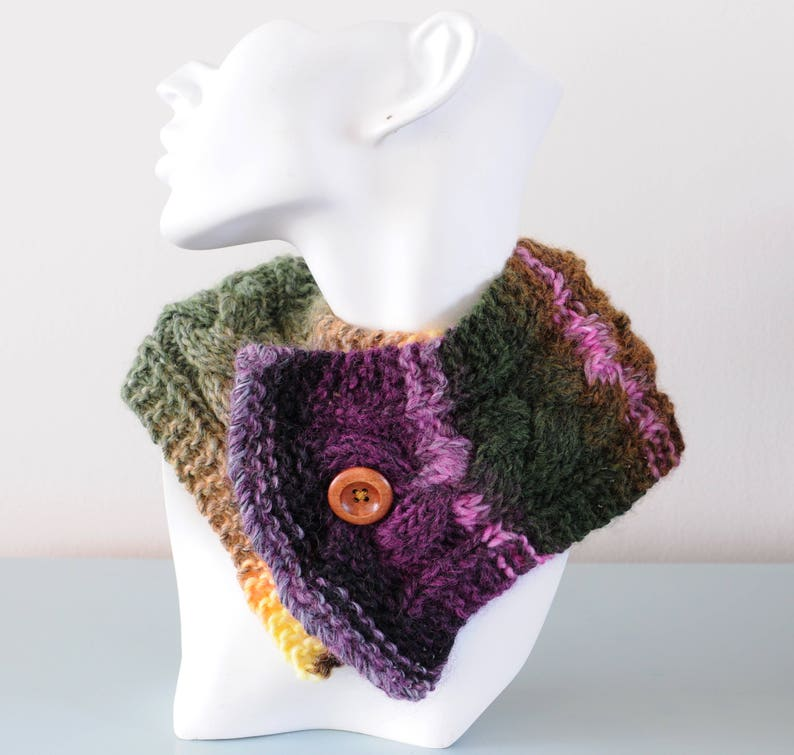 Purple Knitted Neckwarmer  Green Pink Short Scarf Chunky Wool image 0
