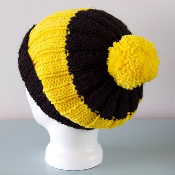 02d9f6074f4 Black   Yellow Beanie Hat Bumble Bee Slouchy Chunky Knitted