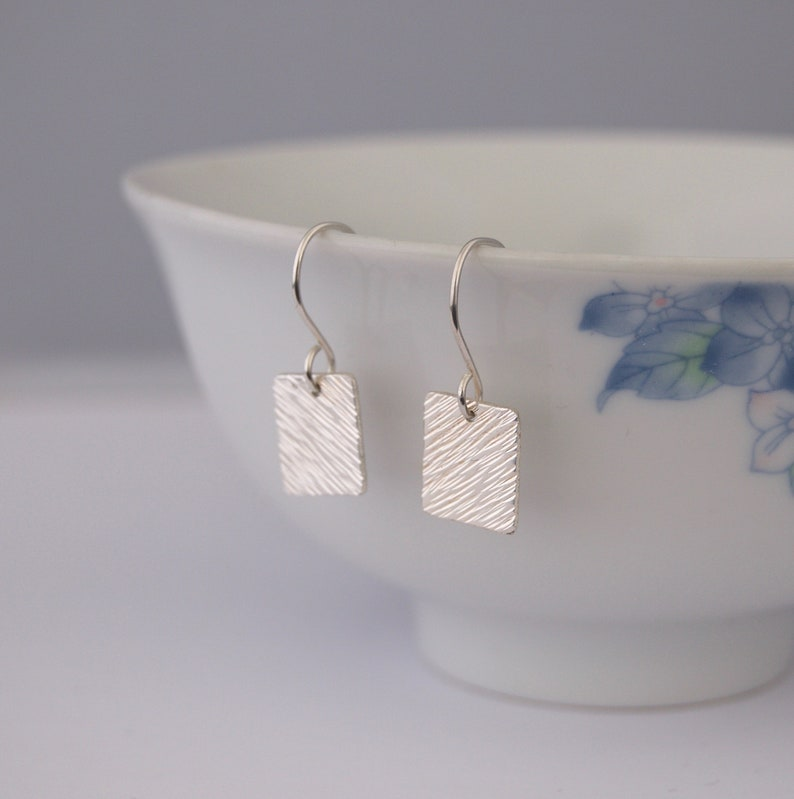 Small Silver Square Earrings  Diagonal Textured Metalwork image 0