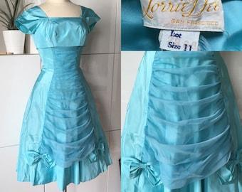 1950s Vintage LORRIE DEB Ball Gown  Prom Dress  Aqua  Spaghetti Straps  Princess  Crinoline Petticoat