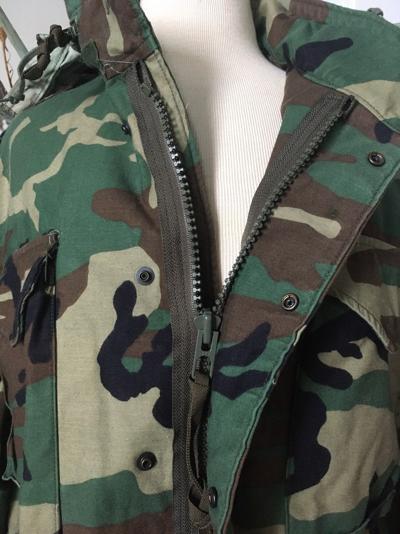 Vintage US ARMY Cold Weather Field Camouflage Coat  Hooded  Camo Jacket  Camo Coat