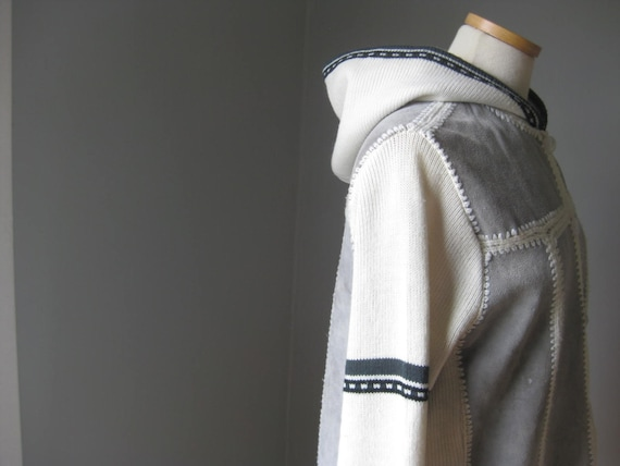 1970s Vintage Hooded Knit and Suede Cardigan Jumpe