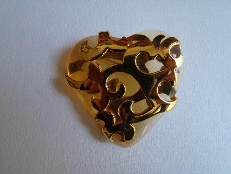 94272e1421433 YSL Yves Saint Laurent transparent golden resin brooch or