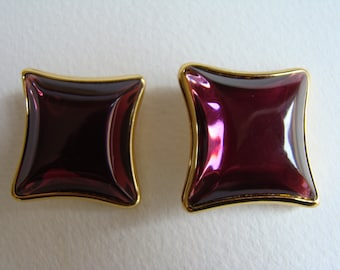 YSL Yves Saint Laurent translucent purple  square Earrings